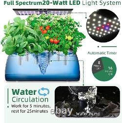 Hydroponics System Indoor Growing System with Adjustable LED Grow Light Pole
