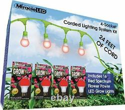 Miracle LED 602844 24ft Corded System Kit with 16 Red Spectrum Grow Lights