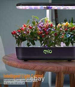QYO 12 Pods Hydroponics Growing System with LED Grow Light, Indoor Herb Garden K